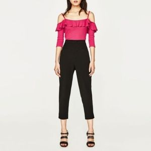 4 for $25!!!!! ZARA PINK COLD SHOULDER RUFFLE TOP